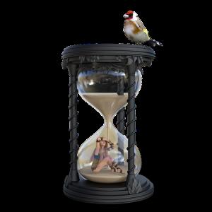 砂時計と女性と鳥