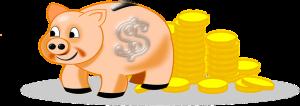 豚の貯金箱と金貨