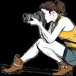 カメラで写真をとる女性